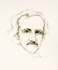 Books:Fiction, [Edgar Allen Poe]. Alan James Robinson. Original Pencil Drawing of Poe....