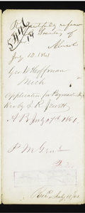 Autographs:U.S. Presidents, Abraham Lincoln 1861 Autograph Endorsement Signed...