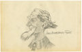 Autographs:Artists, James Montgomery Flagg Signed Pencil Drawing of Uncle Sam,...