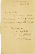 Autographs:Authors, Robert Browning Autograph Letter Signed, ...