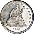 Proof Seated Quarters, 1841 25C PR58 PCGS....