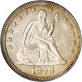 Seated Quarters, 1848 25C MS63 NGC....
