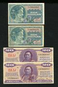 Military Payment Certificates:Series 692, Series 692 $1. Two Examples. Fine, pinholes; VF-XF, pinholes. Series 692 $20. Two Examples. VF, pinholes.... (Total: 4 notes)