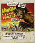 Mainstream Illustration, REYNOLD BROWN (American 1917 - 1991). Monster on the Campus,1959. Gouache on paper. 26 x 20 in.. Signed in pencil, lowe...