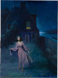 Pulp, Pulp-like, Digests, and Paperback Art, HARRY BARTON (American b.1896). Gothic Romance paperbackcover. Gouache on board. 24 x 18 in.. Signed lower left. ...