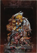 Mainstream Illustration, SIMON BISLEY (English b.1962). Fallen Angel, 1997. Mixedmedia on paper. 21.5 x 15 in.. Signed lower right. ...