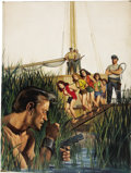 Pulp, Pulp-like, Digests, and Paperback Art, WILL HULSEY (American 20th Century). Desperate Escape From theGirl Slave Ship of Horror. Oil on board. 25 x 19.5 in.. N...(Total: 2 Items)