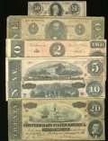 Confederate Notes:1864 Issues, Confederate 1864 Type Set.. ... (Total: 6 notes)