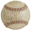 Autographs:Baseballs, 1940 Boston Bees Team Signed Baseball. For five years following theGreat Depression the owners of Boston's National League...