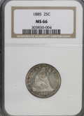 Seated Quarters: , 1885 25C MS66 NGC. NGC Census: (9/9). PCGS Population (11/3).Mintage: 13,600. Numismedia Wsl. Price for NGC/PCGS coin in M...