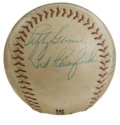 Autographs:Baseballs, 1960's Old Timers Multi-Signed Baseball. During a gathering of OldTimers from the 1960's, we offer the evenly toned, unoff...