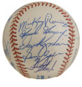 Autographs:Baseballs, New York Mets/Yankees Old Timers Multi-Signed Baseball. Fewdestinations have the same storied pedigree in the sport of base...