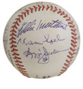 Autographs:Baseballs, 1997 Hall of Fame Ceremony Multi-Signed Baseball. During the Hallof Fame induction ceremonies in 1997, many of baseball's ...
