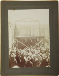Lot of Three Imperial Sized Photographs of the Execution of Indian Johnnie and Joe Ibapah, Carson City, Nevada, 1906