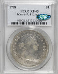 Early Dollars, 1798 $1 Knob 9, 5 Vertical Lines XF45 PCGS. CAC. PCGS Population(1/0). (#40008)...