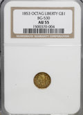 California Fractional Gold: , 1853 $1 Liberty Octagonal 1 Dollar, BG-530, R.2, AU55 NGC. NGCCensus: (2/45). PCGS Population (70/192). (#10507)...