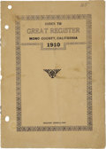 Miscellaneous:Booklets, The Great Register of Mono County, Bridgeport, California, 1910....