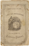 Miscellaneous:Ephemera, Laws and List of Members of the Society of California Pioneers,1881. . ...