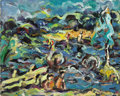 Fine Art - Painting, Russian:Modern (1900-1949), BORIS CHETKOV (Russian, b. 1926). Landscape on a River,1970. Acrylic on board. 16 x 20 inches (40.6 x 50.8 cm). Signed,...