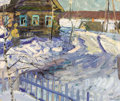 Fine Art - Painting, Russian:Modern (1900-1949), VASILY GOLUBEV (Russian, 1925-1985). Dacha in Winter, 1965.Oil on board. 19 x 22 inches (48.3 x 55.9 cm). Signed lower ...