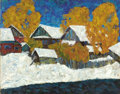 Fine Art - Painting, Russian:Contemporary (1950 to present), ALFRED SMIRNOV (Russian, b. 1928). First Snow, 1980. Oil on board. 17 x 21-1/2 inches (43.2 x 54.6 cm). Inscribed verso ...