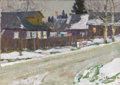 Fine Art - Painting, Russian:Contemporary (1950 to present), NIKOLAI EFIMOVICH TIMKOV (Russian, 1912-1993). Village Road, 1953. Oil on canvas. 7 x 10 inches (17.8 x 25.4 cm). Signe...