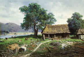 Featured item image of MIKHAIL KLODT (Russian, 1832-1902)  Riverside Farmstead, 1858  Oil on canvas  41-3/4 x 60-1/2 inches (106.0 x 153.7 cm)...