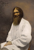 Fine Art - Painting, Russian:Modern (1900-1949), THEODORA KRARUP (Russian, 1860-1941). Portrait of Rasputin, 1916. Oil on canvas. 39-3/4 x 27-3/4 inches (101.0 x 70.5 cm...