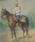 Fine Art - Painting, Russian:Antique (Pre-1900), KONSTANTIN MAKOVSKY (Russian, 1839-1915). Tsar Nicholas II on Horseback, . Pastel on paper laid on canvas. 21 x 18 inche...