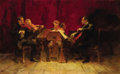 Paintings, GRIGORI GONCHAROV (Russian, 1913-2001). The Musicians, 1958. Oil on canvas. 30 x 48-3/4 inches (76.2 x 123.8 cm). ...