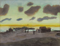 Fine Art - Painting, Russian:Modern (1900-1949), KONSTANTIN YUON (Russian, 1875-1958). Summer Dawn. Penciland watercolor on board. 18-1/4 x 23-3/4 inches (46.4 x 60.3 c...