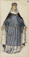 Fine Art - Painting, Russian:Contemporary (1950 to present), ALEXANDRE NIKOLAEVICH BENOIS (Russian-French, 1870-1960). BalletRusse Costume Design for Sleeping Beauty's Mother, cir...
