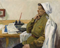 Fine Art - Painting, Russian:Contemporary (1950 to present), YURI LEVICHEV (Russian, b. 1929). Military Doctor, 1964. Oilon cardboard. 31-3/8 x 39-3/8 inches (79.7 x 100.0 cm). Ins...