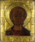 Fine Art - Painting, Russian:Antique (Pre-1900), ARTIST UNKNOWN (Russian, 19th Century). A Russian Icon.Paint on wood with brass. 12-1/2 x 10-1/2 inches (31.8 x 26.7 cm...