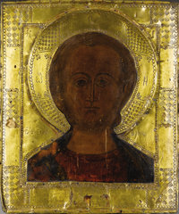 ARTIST UNKNOWN (Russian, 19th Century) A Russian Icon Paint on wood with brass 12-1/2 x 10-1/2 in