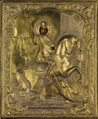 ARTIST UNKNOWN (19th Century) A Russian Icon Paint and brass on wood 21-1/4 x 17-3/8 inches (54.0