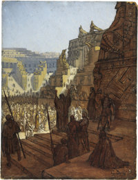 GUSTAVE DORE (French 1833 - 1888) Artaxerxes Granting Liberty to the Jews Oil on board 13 x 10 in