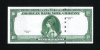 American Bank Note Company Specimen $10 Series 1929. This is a $10 denominated specimen note printed by the ABNCo as Ser...