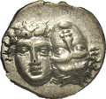 Ancients:Greek, Ancients: Moesia, Istros. Ca. late-5th-4th century B.C. AR drachm(19 mm). Facing male heads, the left inverted / Sea-eagle flyinglef...