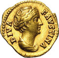 Ancient Lots: , Ancient Lots: Faustina I. Wife of Antoninus Pius. AV aureus (19 mm,7.18 g). Rome, posthumously, after ca. A.D. 141. Draped bust right/ C...