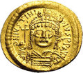 Ancients:Byzantine, Ancients: Justinian I. A.D. 527-565. AV solidus (22 mm, 4.44 g).Constantinople, A.D. 545-565. Diademed, helmeted and cuirassed bustf...
