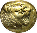 Ancients:Greek, Ancients: Lydian Kingdom. Time of Alyattes II to Kroisos. Ca.610-546 BC. EL 1/3 stater (12 mm). Sardes. Head of roaring lionright, r...