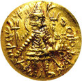 Ancient Lots: , Ancient Lots: India, Kushan Empire. Xodeshah. Ca. mid-3rd centuryA.D. AV dinar (24 mm). King standing left, sacrificing at altar,holding...