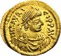 Ancients:Byzantine, Ancients: Maurice Tiberius. A.D. 582-602. AV semissis (18 mm, 2.24g). Constantinople. Diademed, draped, and cuirassed bust right /Vi...