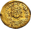 Ancients:Byzantine, Ancients: Maurice Tiberius. A.D. 582-602. AV solidus (21 mm, 4.46g). Constantinople, A.D. 583-601. Helmeted and cuirassed facingbust...