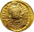 Ancients:Byzantine, Ancients: Justin I. A.D. 518-527. AV solidus (19 mm).Constantinople, A.D. 518-519. Diademed, helmeted and cuirassed bustfacing sligh...