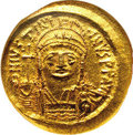 Ancients:Byzantine, Ancients: Justinian I. A.D. 527-565. AV solidus (19 mm). Constantinople, A.D. 545-565. Diademed, helmeted and cuirassed bust facing sl...