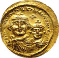 Ancients:Byzantine, Ancients: Heraclius. A.D. 610-641. AV solidus (21 mm).Constantinople, ca. A.D. 616-625. Crowned facing busts of Heracliusand Heracli...