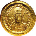 Ancient Lots: Marcian. A.D. 450-457. AV solidus (21 mm). Constantinople. Diademed, helmeted and cuirassed bust facing sl...