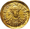 Ancient Lots: , Ancient Lots: Zeno I. Second reign, A.D. 476-491. AV solidus (19mm). Constantinople. Diademed, helmeted and cuirassed bust facingslightl...